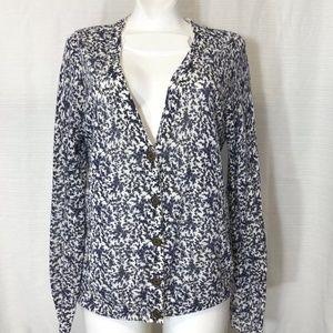 Madewell Blue Linen Cardigan Sweater Jacket Knit